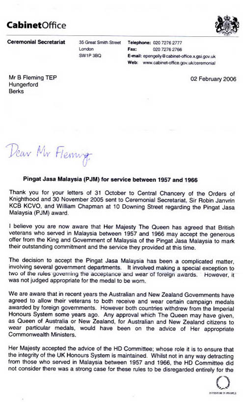Cabinet Office Letter dated 2 Feb 2006 Page 1